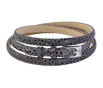 Joy de la Luz zwart lederen armband voor zilveren bedels en met zilveren gesp