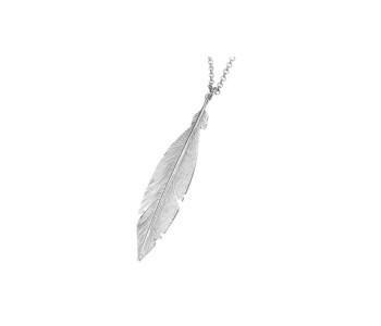 Fashionable zilveren ketting met veer Corina Rietveld