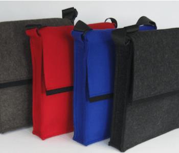 LH58 A4 vilten tassen in de kleuren rood, berber bruin, antraciet en kobalt blauw