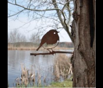 Metalbird Roodborstje metalen vogel voor in de tuin