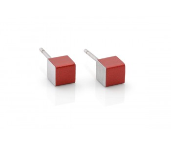 Dutch Design oorbllen in rood aluminium van Clic Creations sieraden