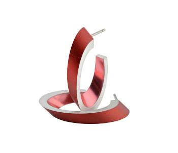 Dutch Design oorringen van Clic Creations sieraden van aluminium met de kleuren rood, zwart, blauw en paars