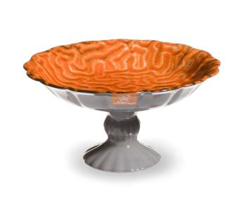 Royal Goedewaagen Koraal schaal op voet keramiek kleur oranje