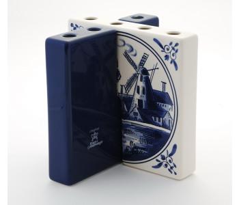 Design vaas Tulpentegel Delfts blauw met molen van Royal Goedewaagen