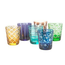 Pols Potten Tumbler van gekleurd glas, set van 6 verschillende - bijzonder cadeau idee
