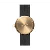 Achterkant messing D38 Tube horloge met zwart lederen band van LEFF Amsterdam en Piet Hein Eek