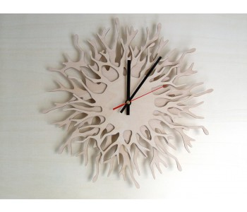 Wooden designer wall clock Coral by Asymmetree Anja Verdonk