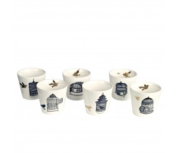 Porcelain cups, Pols Potten, white with gold, tea set freedom birds