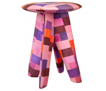 Polspotten stool red, recycled material, flip-flops