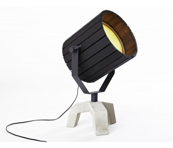 Barrel lamp with concrete base and black wooden cap
