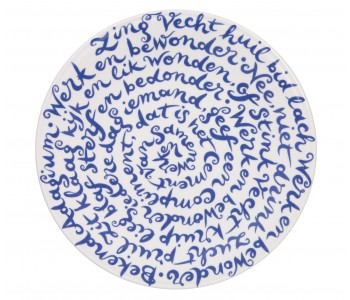 Diskus plate happiness by Royal Delft Delftware porcelain