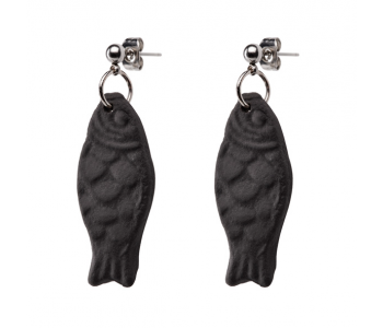 Licorice earrings with fish
