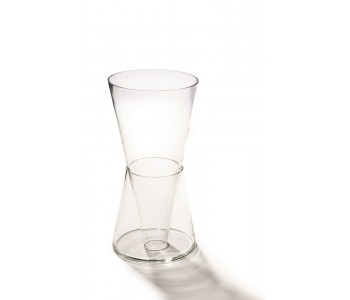 Clear design Double vase Willem Noyons two parts