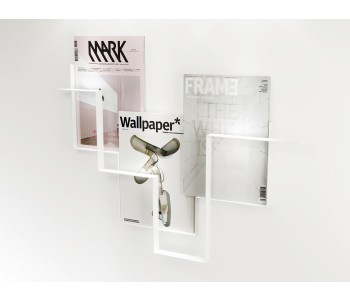 Magazine rack white metal Guidelines Studio Frederik Roijé Dutch design