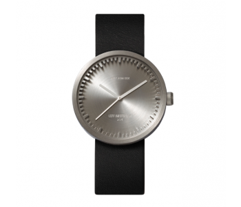 Piet Hein Eek Dutch design watch for LEFF amsterdam with stainless steel case and black leather strap