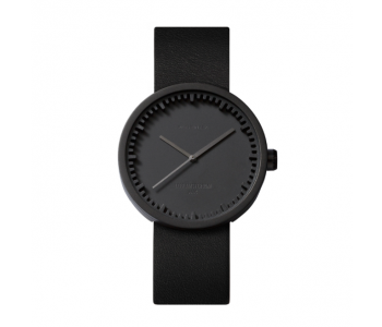 Tube D38 black steel watch with black leather strap, design Piet Hein Eek for LEFF Amsterdam