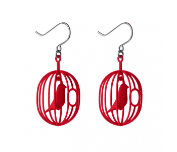 New: Happy Bird earrings in the cheerful colour Red