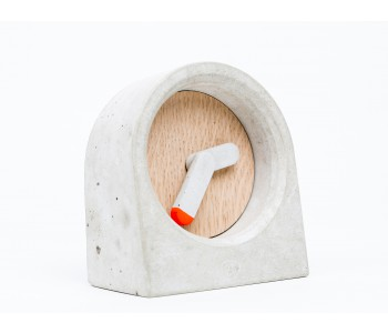 Moak clock in concrete and wood with orange-tipped minute hand