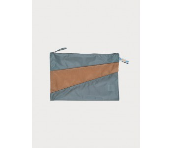 Large pouch by susan bijl in the colors grey camel