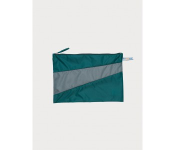Super strong ripstop nylon pouch in green and grey