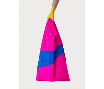 Nylon shopping bag in pink and blue