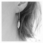Silver Earrings Feather - pull trough
