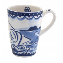 Cup XL Delft Blond in blue white by Blond Amsterdam with flower