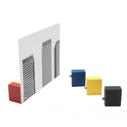 Set of 4 wooden card stands in the basic colors of Mondriaan