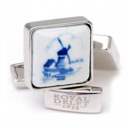Dutch Designer cufflinks with mill in porcelain by Royal Delft
