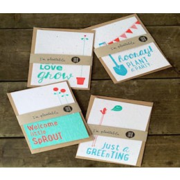 Biodegradable cards with flower and herb seeds