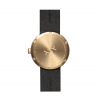 Back side brass D38 Tube watch with black leather by LEFF amsterdam, design Piet Hein Eek