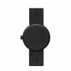 Backside of black Tube D38 watch with black leather strap by Piet Hein Eek
