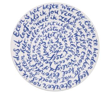 """Diskus Teller """"Eten"""" (Essen) von Royal Delft Delfter Blau Porzellan"""