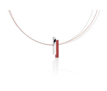 Clic Creations Kette Rot Frau, Halsschmuckstück Fashion, Click Creations handgefertigt Dutch Design Schmuckstück