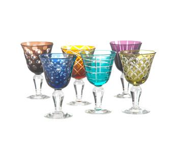 Pols Potten Set aus 6 farbigen Designer-Weingläsern, eine einzigartige Geschenkidee