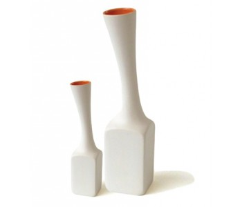 Design-Vase Goods Piso Weiß-Orange Olaf Slingerland