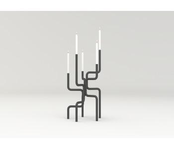 Kerzenleuchter Design Frederik Roijé Walk of Flame Dunkelgrau