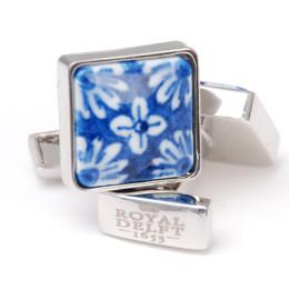 Delfter Blau Porzellan Manschettenknöpfe mit Blumenmotiv von Royal Delft