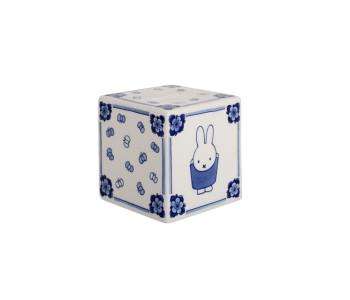 Nijntje kubus spaarpot van Royal Delft in Delfts Blauw porselein
