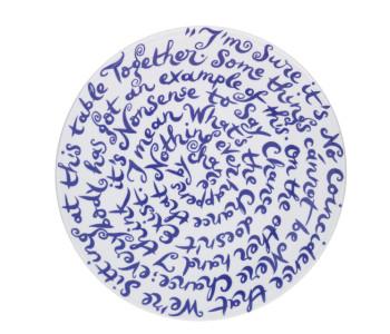 Delfts Blauw porseleinen design bord Diskus met tekst over chance en verandering van Royal Delft