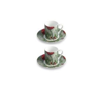 Vincent en Theo Van Gogh espresso kopjes van porselein vlinders en klaprozen