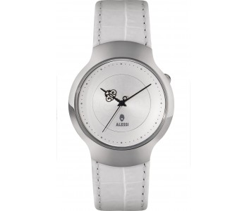 Design horloges Alessi Dressed by Marcel Wanders met wit leren band