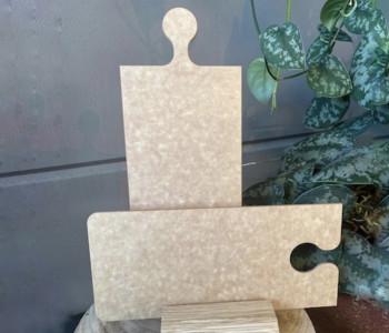 Finest snijplank Maastricht - set van 2 puzzelstukken in lichtbruin geperst papier