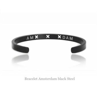 Amsterdam armband in zwart staal online bestellen? Voor 21:00 u besteld, morgen in huis. Bezoek snel shop.holland.com voor meer Dutch design sieraden.