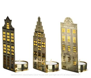 Waxinelichthouders Grachtenpanden van Pols Potten goud licht - Set van 3 koop je bij shop.holland.com