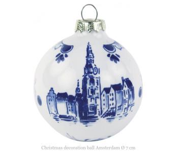 Kerstbal met afbeelding van de Magere brug in Amsterdam in Delfts blauw bij shop.holland.com