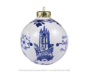 Delfts Blauwe Kerstbal Delft van Royal Delft met op de achterkant een schildering van de scheve toren van delft