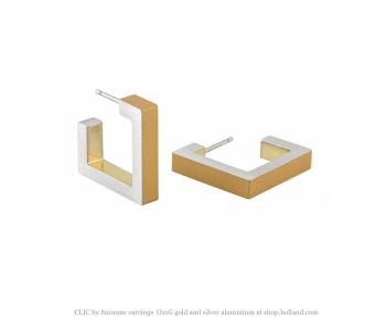Clic O11G oorbellen in zilver en goud aluminium bij shop.holland.com