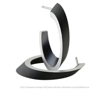 Clic by Suzanne oorbellen O21Z zwart met zilver aluminium