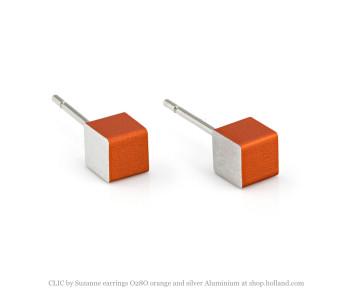 Clic by Suzanne oorbellen O28O in oranje met zilver Aluminium vind je bij shop.holland.com